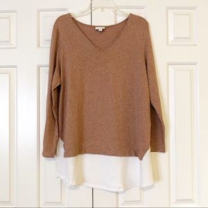 J. Jill layered v-neck rose sweater & white shirt